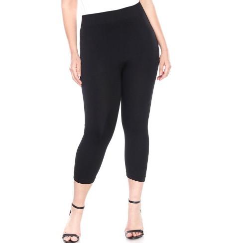 Women's Plus Size Super Soft Capri Leggings - White Mark - image 1 of 3