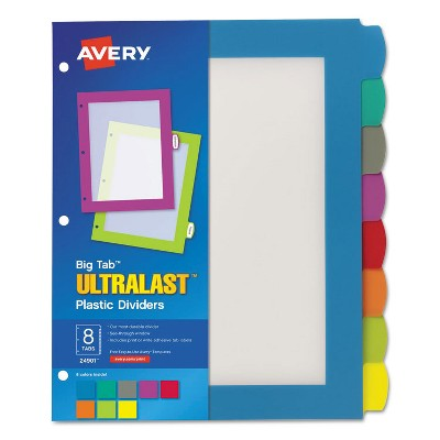 Avery Big Tab Ultralast Plastic Dividers Multicolor 8-Tab 8 1/2 x 11 24901