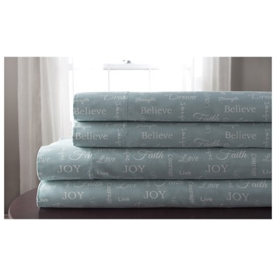 Microfiber Inspirational Printed Sheet Set - Elite Home Products