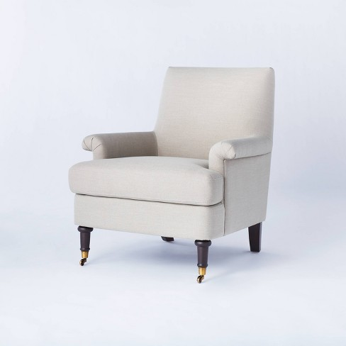 Mercer Rolled Upholstered Armchair with Casters - Threshold™ designed with Studio McGee - image 1 of 4