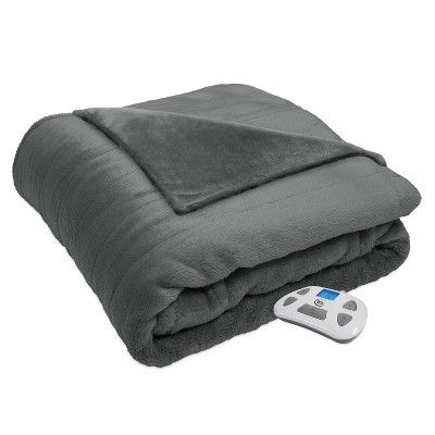 Queen Silky Plush Electric Bed Blanket Gray - Serta
