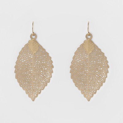 Women's Leaf Drop Earring - A New Day™ Gold