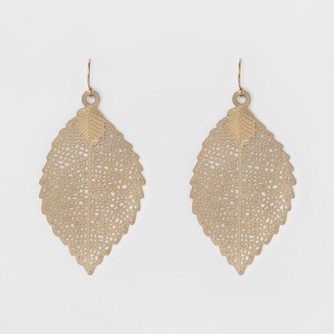 df84fda69001 Women s Leaf Drop Earring - A New Day™ Gold   Target