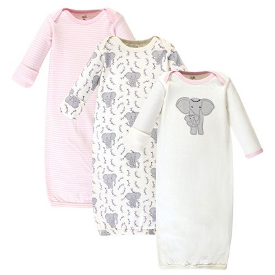 Touched by Nature Baby Girl Organic Cotton Long-Sleeve Gowns 3pk, Girl Elephant