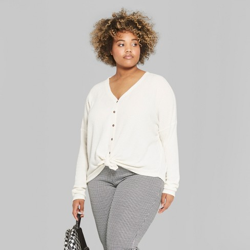 102f967e6a Women s Plus Size Striped Long Sleeve Oversize Thermal Tie Front Top - Wild  Fable™ White 4X   Target