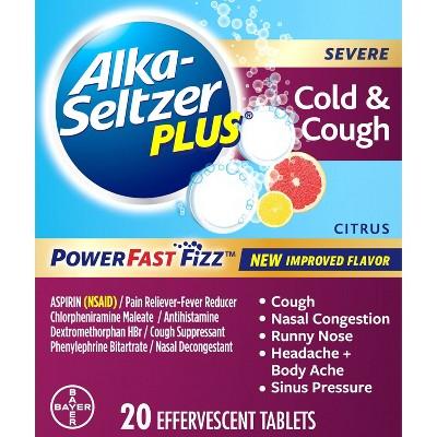 Alka-Seltzer Plus NSAID Severe Cold & Cough PowerFast Fizz Tablets - Citrus - 20ct