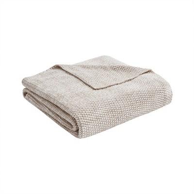 "50"" x 60"" Coe Cotton Knit Throw Natural"