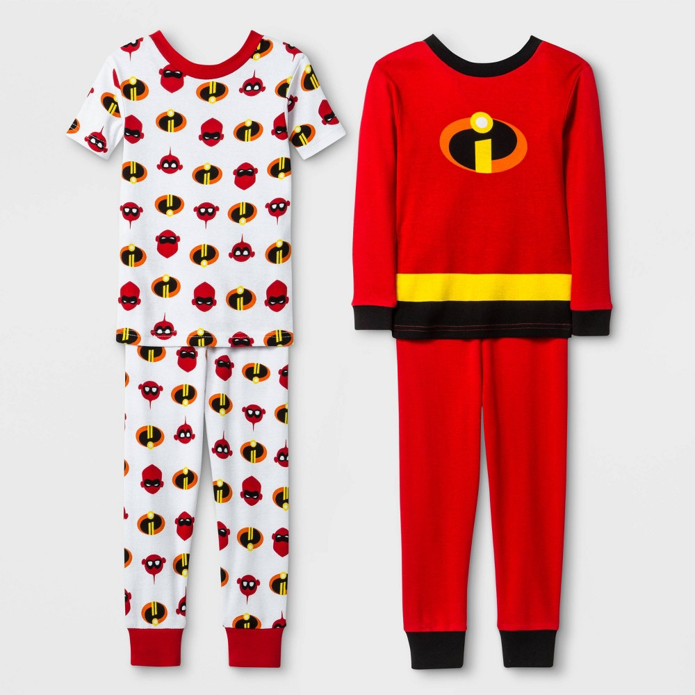 Image of Baby Boys' 4pc Incredibles 2 100% Cotton Pajama Set - Red 12M, Boy's