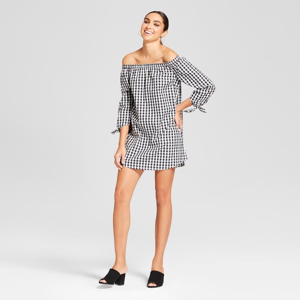 Women's Gingham Check Long Sleeve Off the Shoulder Dress - Needlework Black/White S