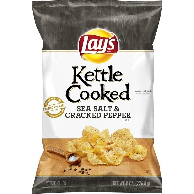 Lay's® Kettle Cooked Salt & Pepper Flavored Potato Chips - 8oz