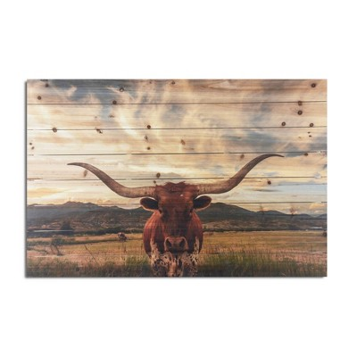 """24"""" x 36"""" Longhorn Print on Planked Wood Wall Sign Panel - Gallery 57"""