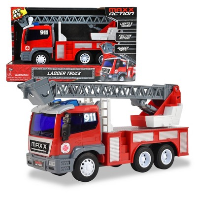 Maxx Action Large Firetruck with Extendable Ladder – Lights & Sounds Motorized Rescue Vehicle