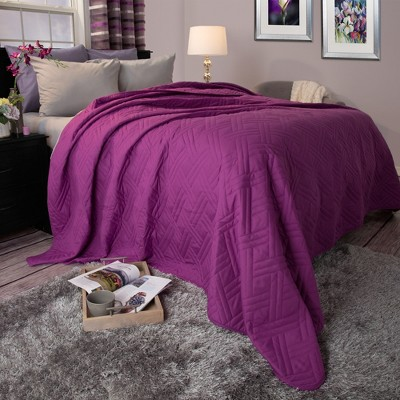 Solid Color Bed Quilt (King)Purple - Yorkshire Home