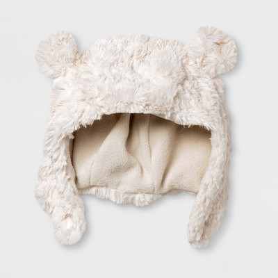 Baby Boys' Polar Bear Trapper Hat - Cat & Jack™ White 0-6 M