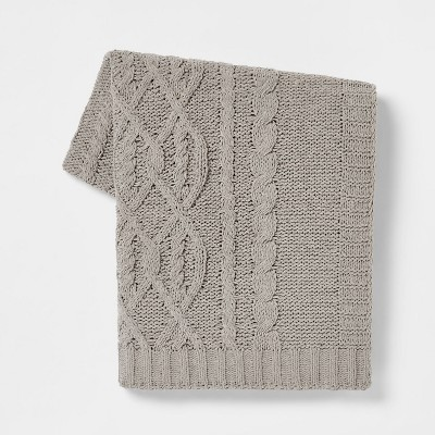 Cable Knit Chenille Throw Blanket Gray - Threshold™