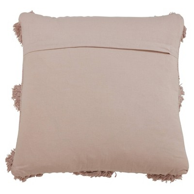 "18""x18"" Pom-Pom Poly Filled Throw Pillow Pink - Saro Lifestyle : Target"