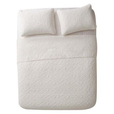 3pc King Caroline Embossed Quilt Set White - VCNY Home