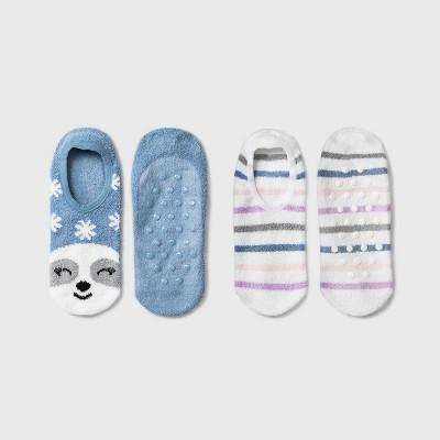 Women's Sloth Cozy 2pk Liner Socks - Blue 4-10