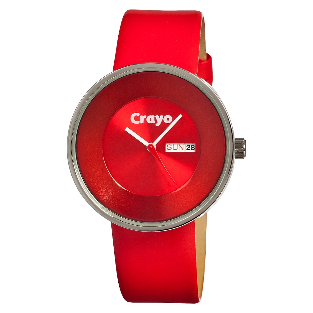 Image of Women's Crayo Button Watch with Day and Date Display - Red, Size: Small