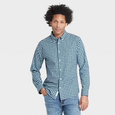 Men's Standard Fit Stretch Poplin Long Sleeve Button-Down Shirt - Goodfellow & Co™