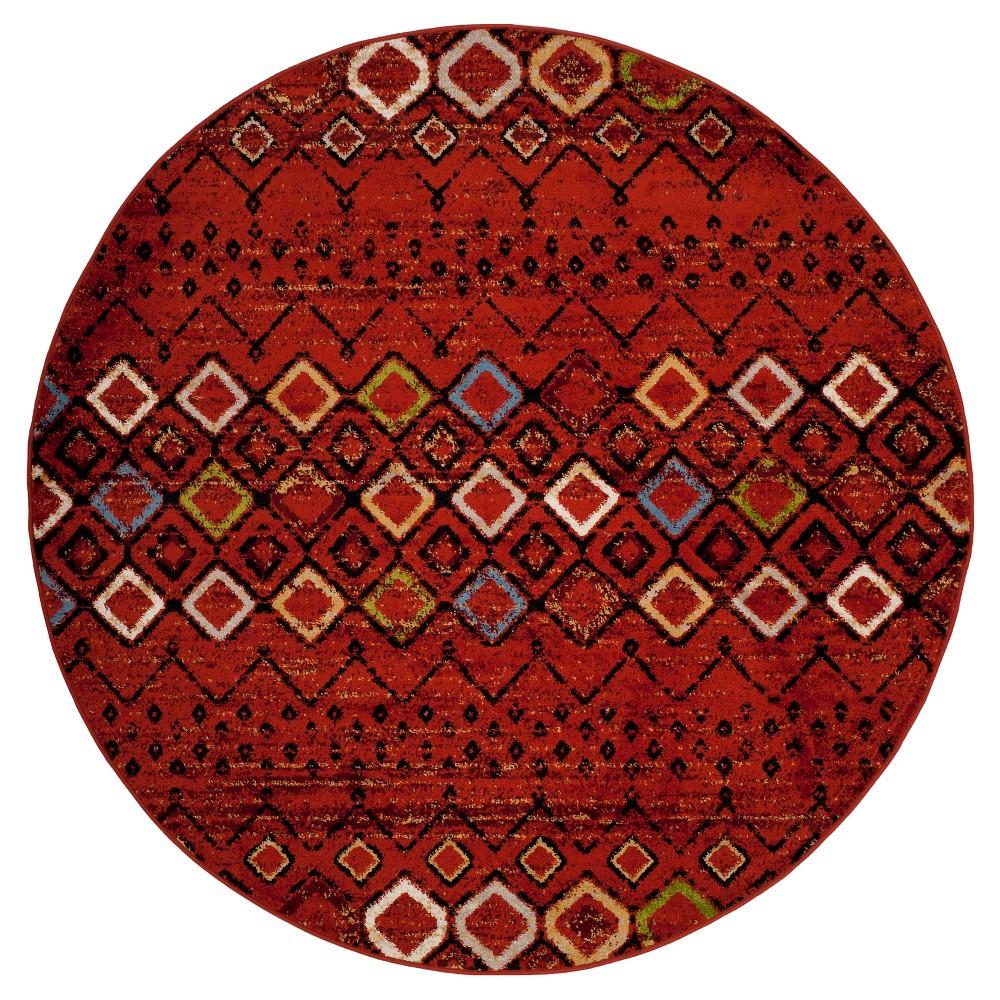 Fair Isle Design Loomed Round Area Rug 6'7 - Safavieh, Terracotta/Multicolor