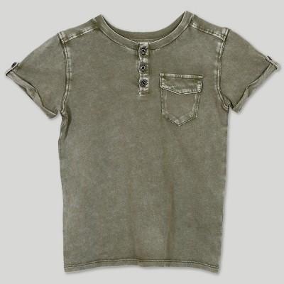 Afton Street Toddler Boys' Short Sleeve Henley T-Shirt - Green 2T