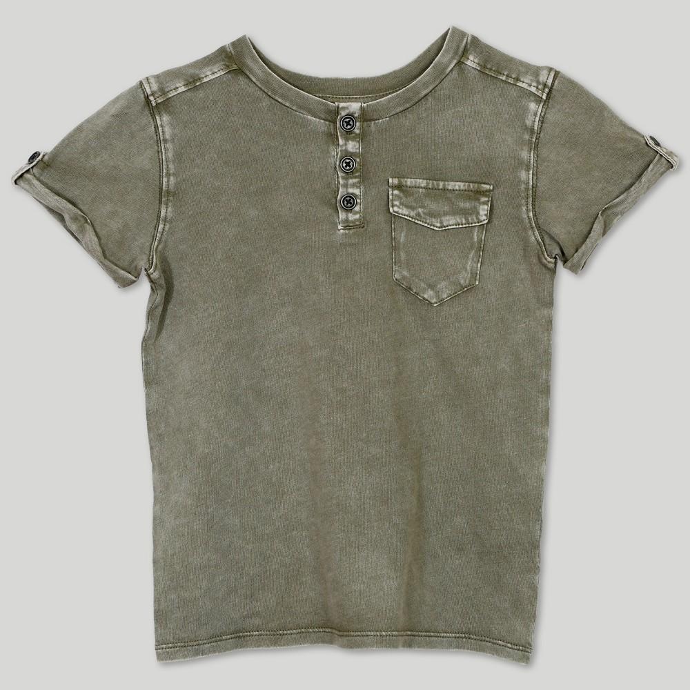 Image of petiteAfton Street Toddler Boys' Short Sleeve Henley T-Shirt - Green 12M, Boy's