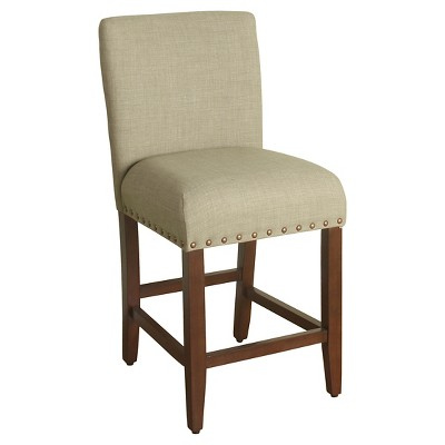 """24"""" Upholstered Counter Height Barstool with Nailheads - HomePop"""