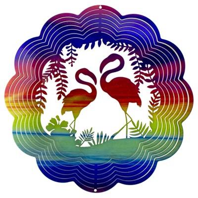"""Ganz 12"""" Rainbow Glittered Metal Flamingo Wind Spinner"""