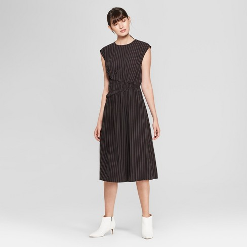 Womens Pinstripe Short Sleeve Smocked Waist Midi Dress Prologue
