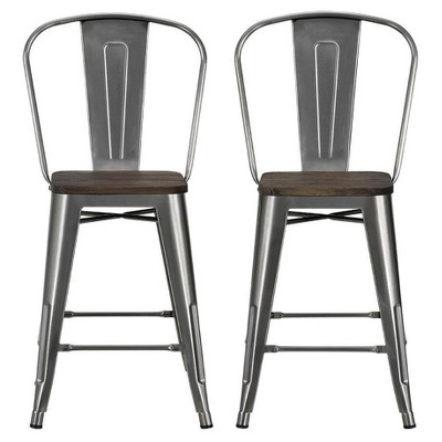 "Set of 2 24"" Luxor Metal Counter Stool with Wood Seat Antique Gun Metal - Room & Joy"