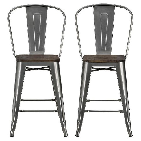 Swell Luxor 24 Metal Counter Stool With Wood Seat Set Of 2 Dorel Home Products Ocoug Best Dining Table And Chair Ideas Images Ocougorg