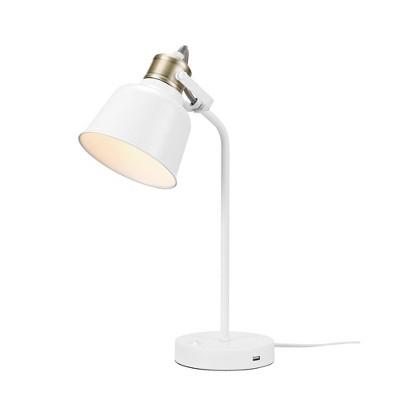 "18"" Dakota Desk Lamp with 2.1 USB Port Matte White - Globe Electric"
