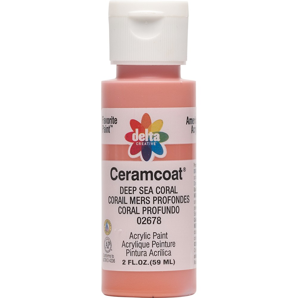 Image of 2 fl oz Acrylic Craft Paint Deep Sea Coral - Delta Ceramcoat, Deep Blue Pink
