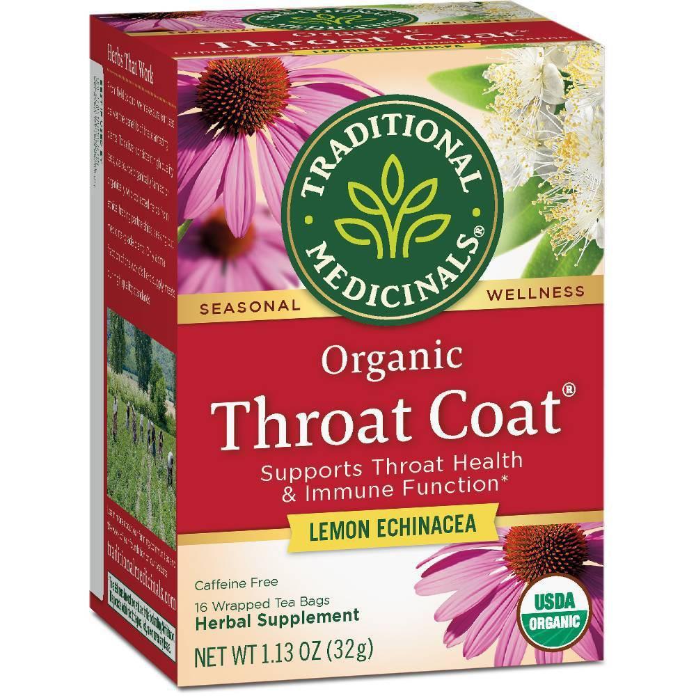 Traditional Medicinals Organic Throat Coat Lemon Echinacea Herbal Tea 16ct