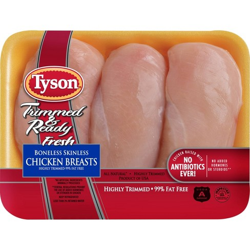 Tyson Trimmed & Ready Boneless & Skinless Chicken Breast - 1-2.11lbs - price per lb - image 1 of 3