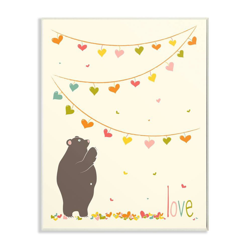 """Image of """"10""""""""x0.5""""""""x15"""""""" Love Bear with Heart Garland Wall Plaque Art - Stupell Industries"""""""