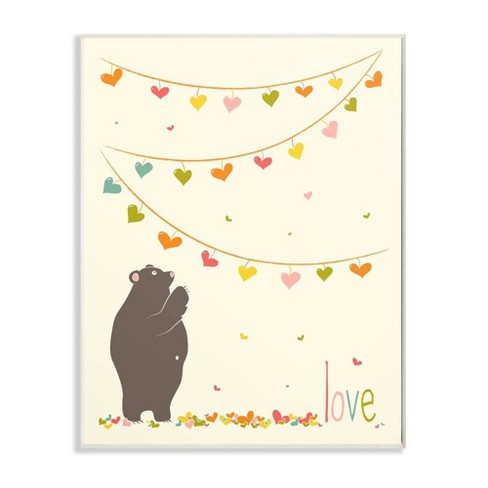 """12.5""""x0.5""""x18.5"""" Love Bear with Heart Garland Oversized Wall Plaque Art - Stupell Industries - image 1 of 1"""