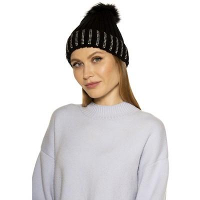 Alexia Admor Darla Knitted Beanie With Rhinestones And Pom