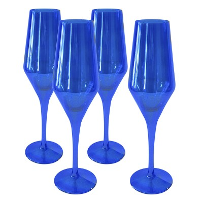 Artland 8oz 4pk Luster Glass Champagne Flutes Blue