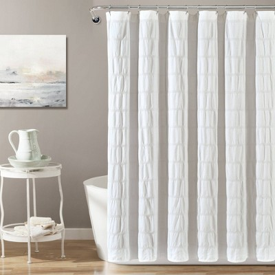 Waffle Striped Woven Cotton Shower Curtain - Lush Décor