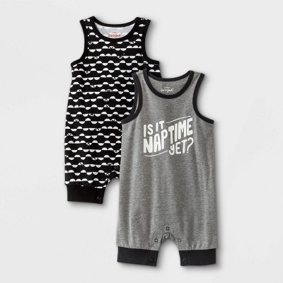 Baby Boys' 2pk Nap Time Romper - Cat & Jack™ Gray 6-9M