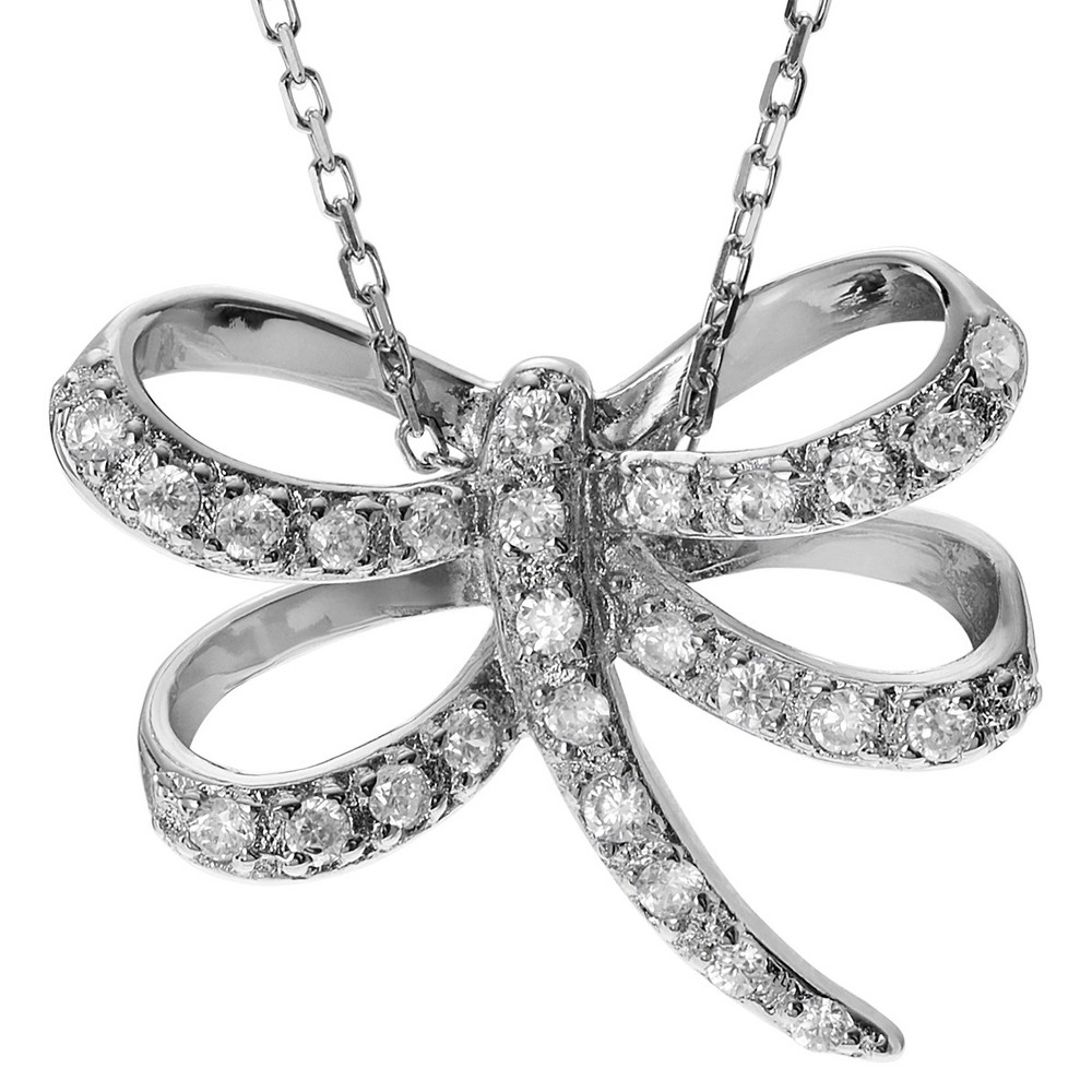 1/4 CT. T.W. Round-cut CZ Pave Set Winged Dragonfly Pendant Necklace in Sterling Silver - Silver (18), Girl's