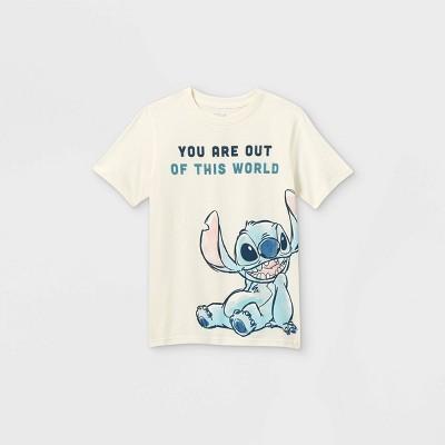 Boys' Disney Lilo & Stitch Short Sleeve Graphic T-Shirt - Off-White - Disney Store