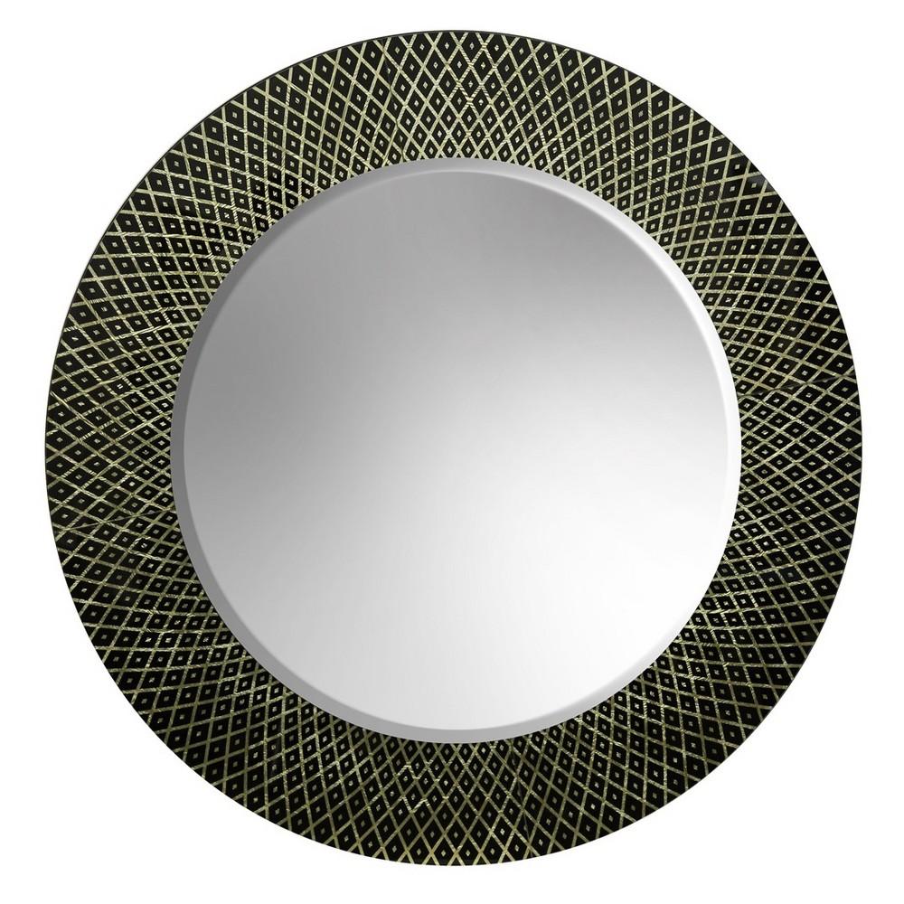 39 Etched Round Framed Wall Mirror Black - StyleCraft