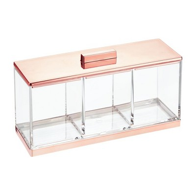 mDesign Makeup Organizer Storage Canister, 3 Sections and Lid