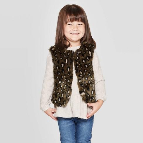 Toddler Girls' Faux Fur Vest - Cat & Jack™ Green - image 1 of 3