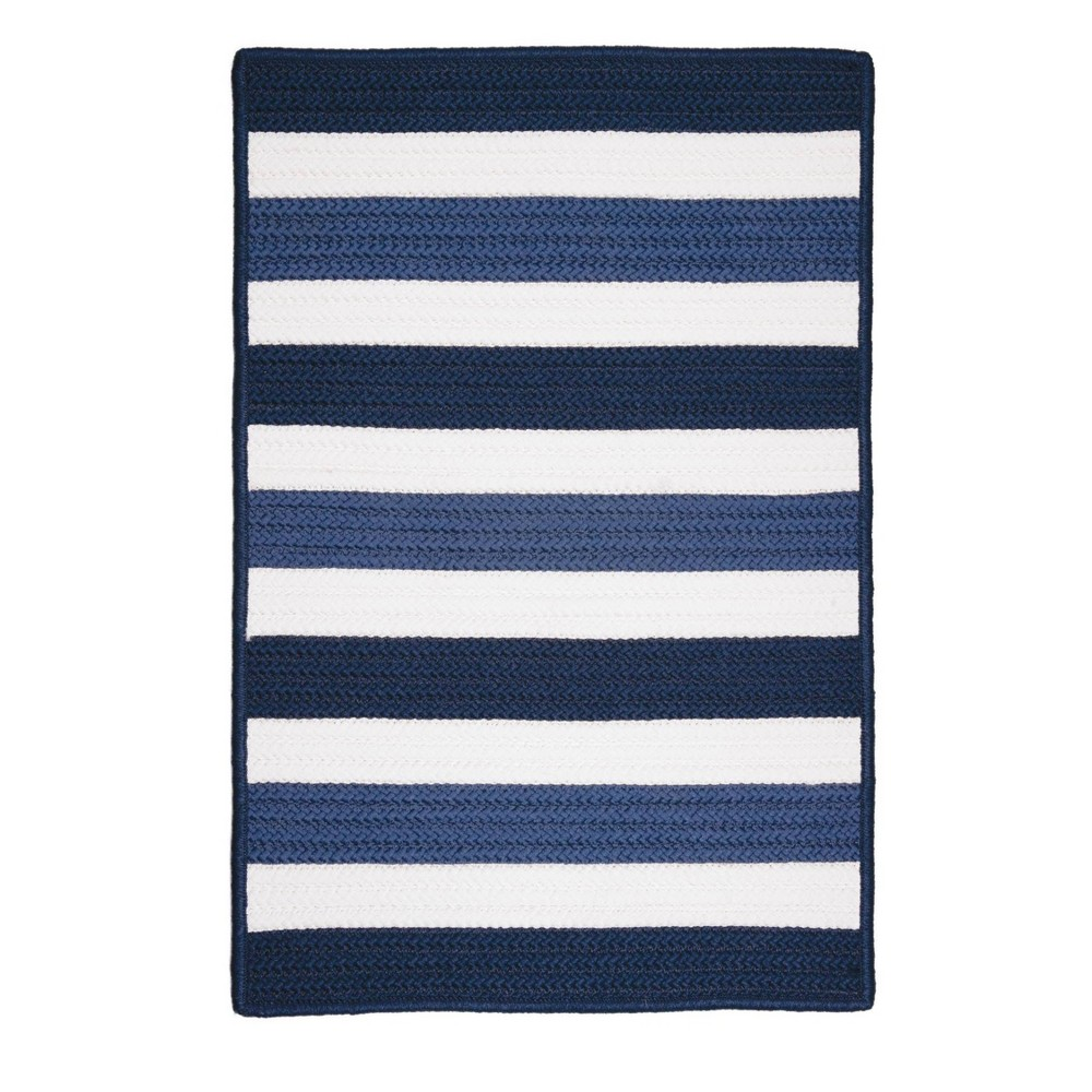 Railroad Stripe Braided Area Rug Blue