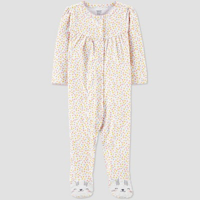 Baby Girls' Floral Kitty 1pc Pajama - Just One You® made by carter's 3M
