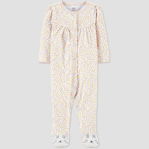 Baby Girls' Floral Kitty 1pc Pajama - Just One You® made by carter's - image 1 of 2